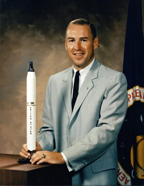 The official NASA portrait of astronaut James Lovell