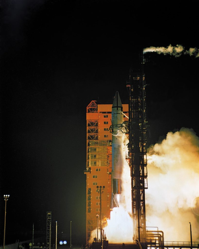 Lift off of Atlas Centaur 9 with Surveyor Mass Model spacecraft.  Pad 36B. Item 1.3-25 66PC-325