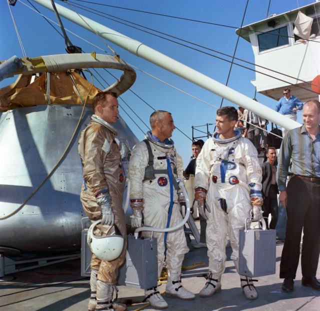 Prime crew of Apollo/Saturn Mission 204 prepares for water egress training