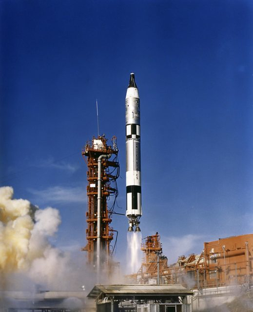 The Gemini 12 astronauts James Lovell and Edwin Aldrin lifted off aboard a Titan launch vehicle from the Kennedy Space Center on November 11, 1966, an hour and a half after their Agena target vehicle was orbited by an Atlas rocket. Launched atop an Atlas booster, the Agena target vehicle (ATV) was a spacecraft used by NASA to develop and practice orbital space rendezvous and docking techniques in preparation for the Apollo program lunar missions. The objective was for Agena and Gemini to rendezvous in space and practice docking procedures. An intermediate step between Project Mercury and the Apollo Program, the Gemini Program's major objectives were to subject two men and supporting equipment to long duration flights, to perfect rendezvous and docking with other orbiting vehicles, methods of reentry, and landing of the spacecraft. n/a