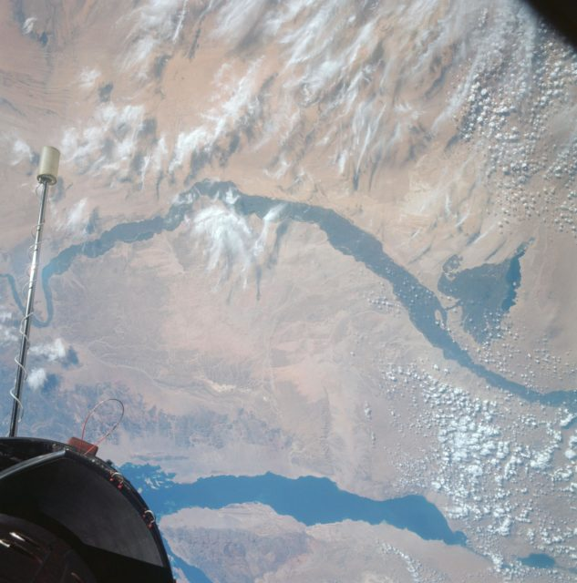 Egypt, Nile Valley, Gulf of Suez, Sinai as seen from Gemini 12 spacecraft