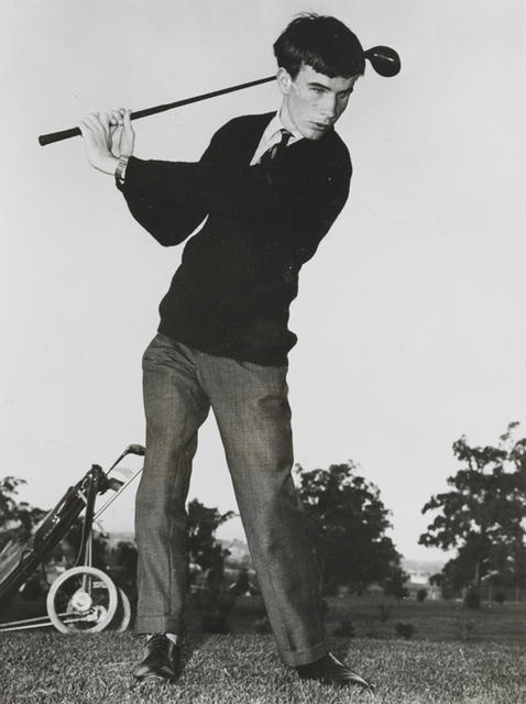 Pupil at the Royal Victorian Institute for the Blind playing golf