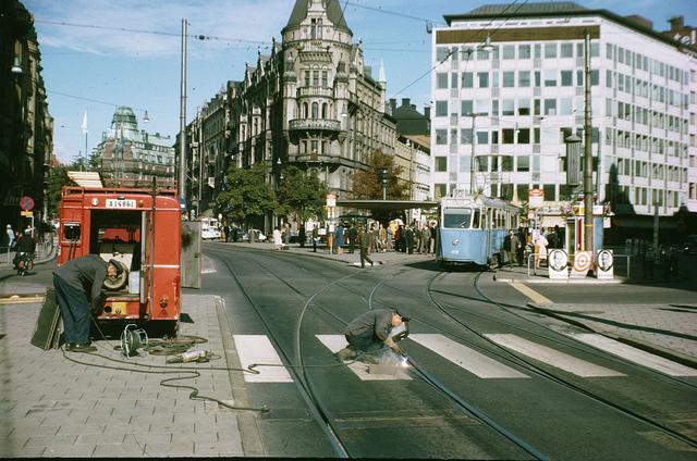 Track maintenance at Stureplan in Stockholm 1966
