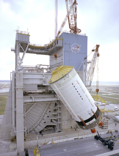 Saturn V S-II (second) stage being hoisted at the S-II-A2 test stand