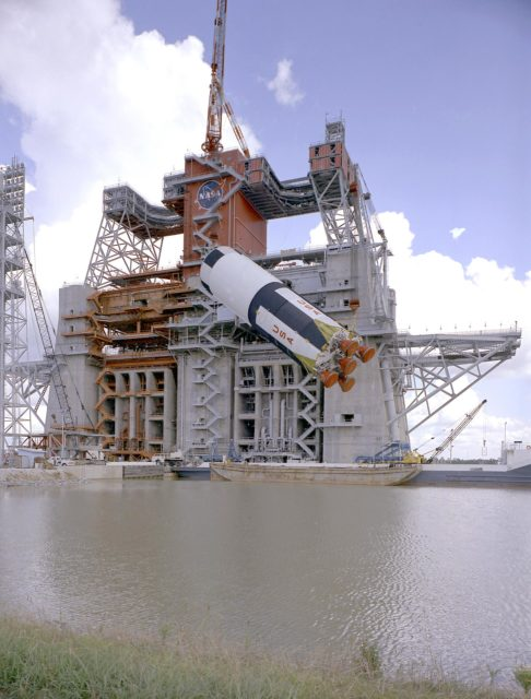 Saturn V S-IC-5 (first) flight stage being hoisted into the S-IC-B1 test stand