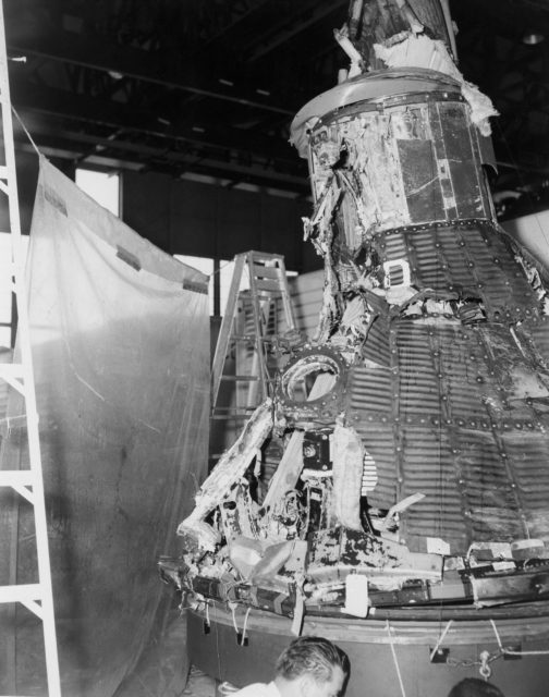 View of a reconstructed Mercury 1 spacecraft