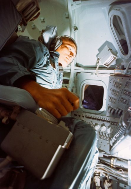 Astronaut Frank Borman during training exercise in Apollo Mission simulator