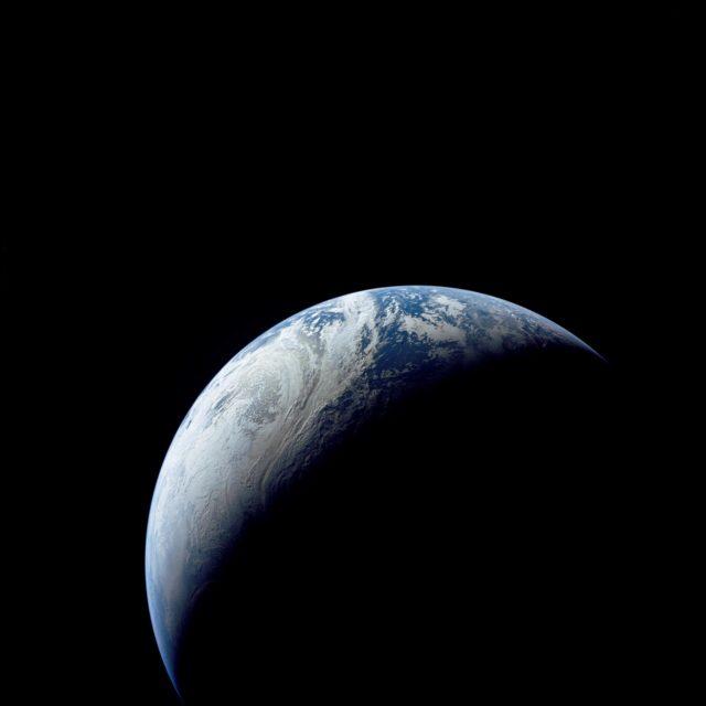 Brazil, Atlantic Ocean, Africa, Sahara & Antarctica seen from Apollo 4