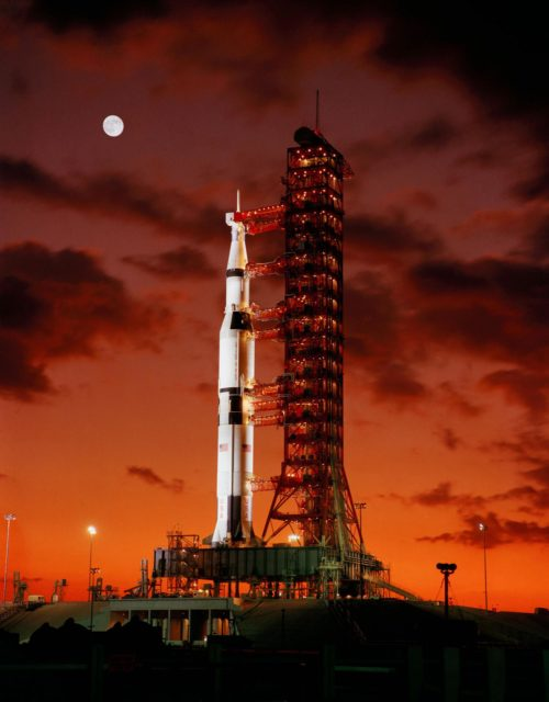 Early morning view of Apollo 4 unmanned spacecraft on launch pad