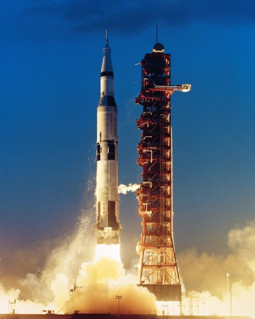 Saturn 501 - Apollo Saturn V liftoff from Complex 39A at 7 a.m. 9 November 1967 at Kennedy Space Center, Florida. KSC-67PC-0435
