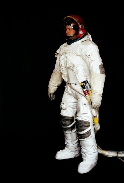 Astronaut John Bull wears the A6-L type pressure Garment Assembly
