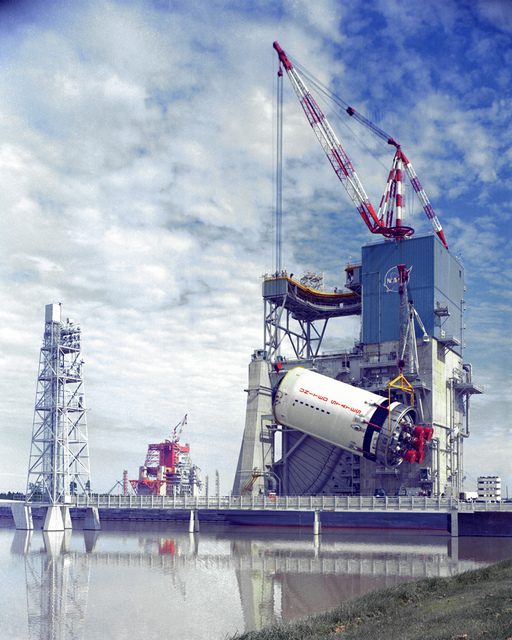 Saturn V, S-II Stage is Lifted into Test Stand