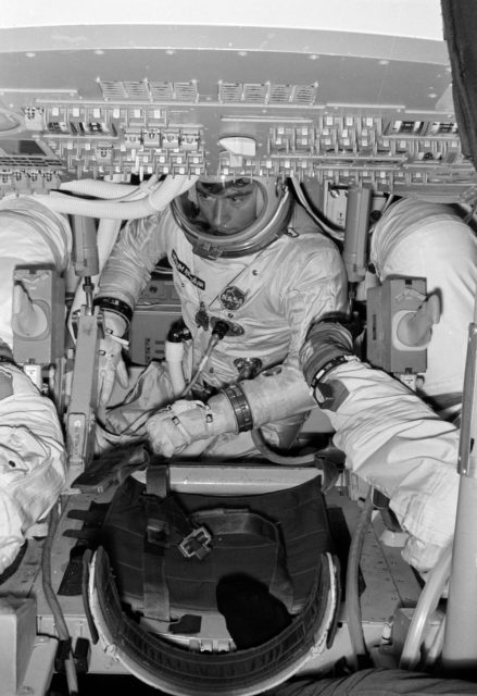 Astronaut John Young in Command Module Simulator during Apollo Simulation