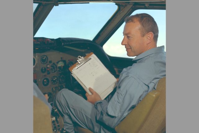 Pilot Bob Innis in cockpit of CV-990 ARC-1968-AC-40789-1
