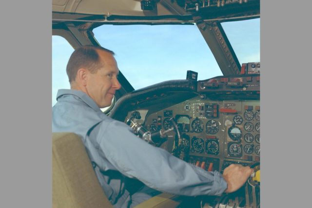 Pilot Fred Drinkwater in cockpit of CV-990 ARC-1968-AC-40789-3