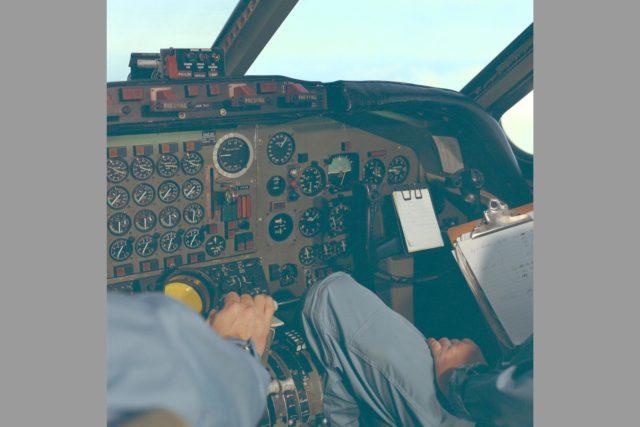 Pilots in cockpit of CV-990 ARC-1968-AC-40789-7