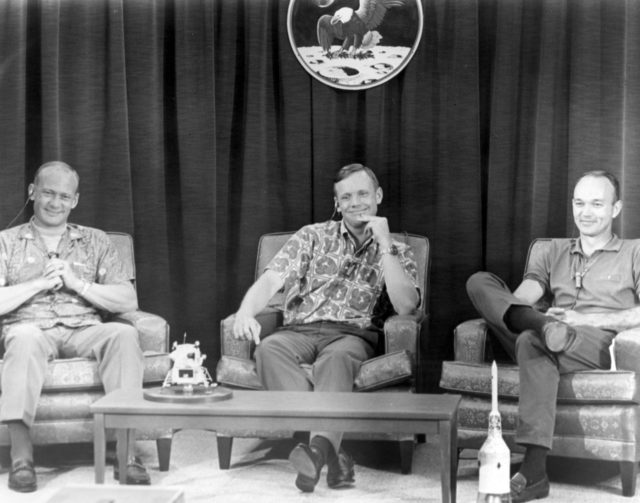 Apollo 11 crew members (L-R) Edwin Aldrin, Neil Armstrong, and Michael Collins