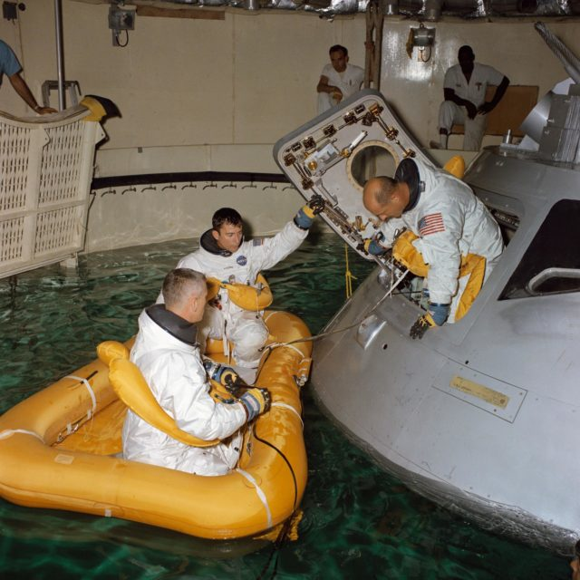 Apollo 10 astronauts participate in water egress training at MSC