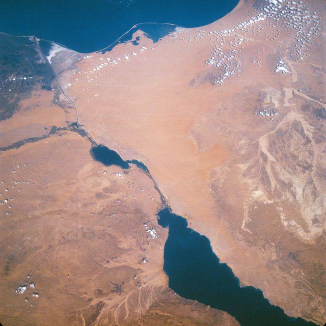 Suez Canal, Gulf of Suez, Sinai Peninsula, Egypt, as seen from the Apollo 7
