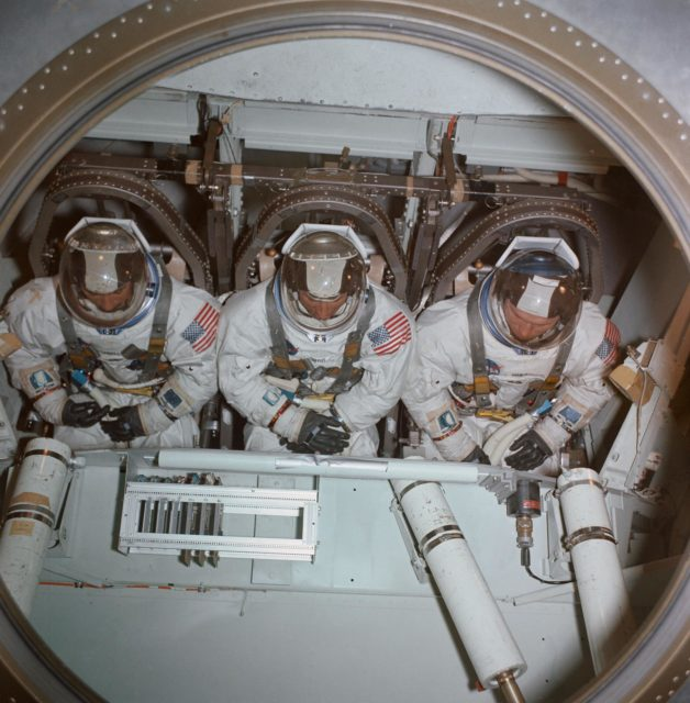 Apollo 8 prime crew inside centrifuge gondola in bldg 29 during training