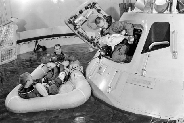 Apollo 9 prime crew participate in water egress training