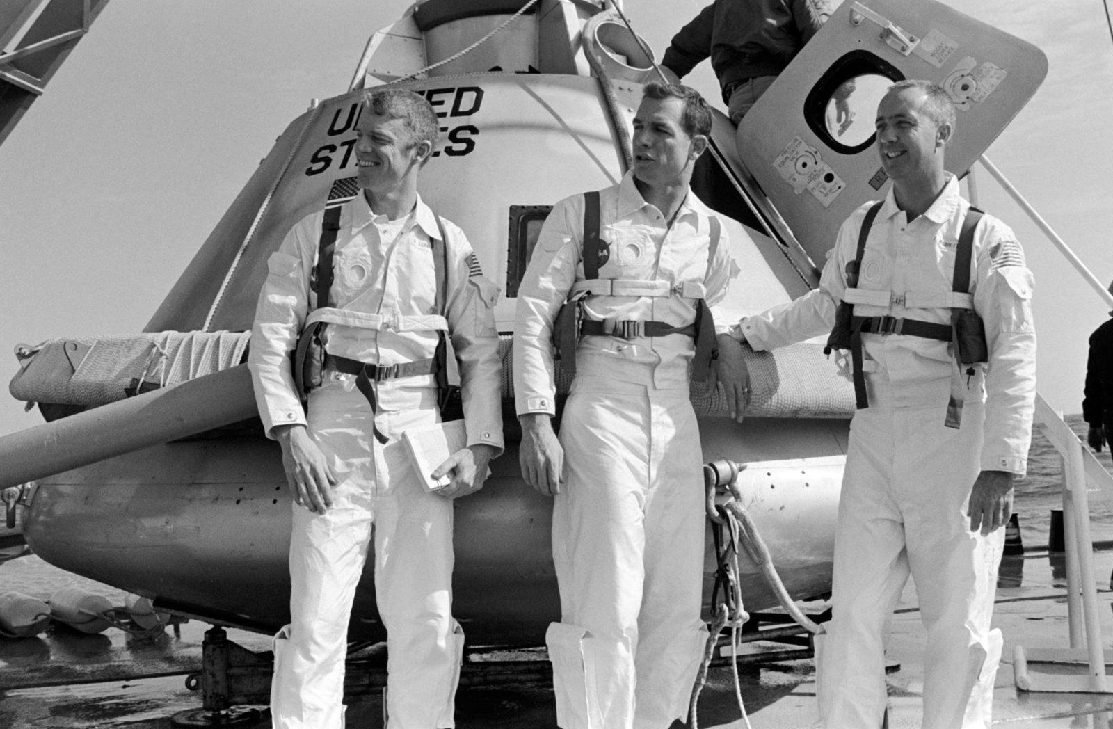 Apollo 9 prime crew on deck of ship prior to water egress training