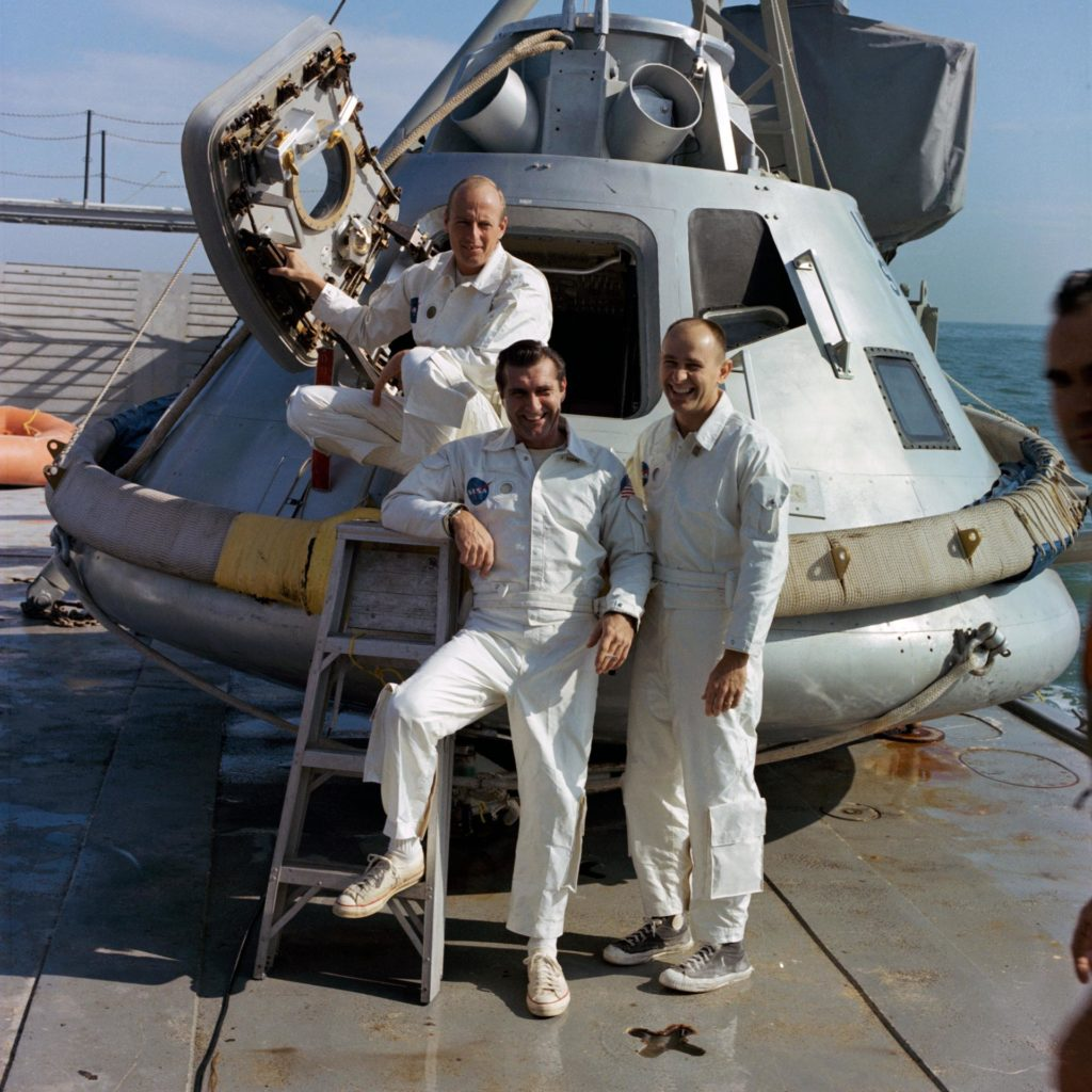 "Apollo 9 backup crew on ""Retriever""-Ships"