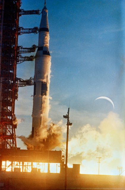 Launch of Apollo 8 lunar orbit mission