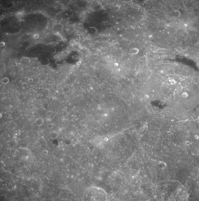 High altitude view of lunar surface taken from Apollo 8 spacecraft
