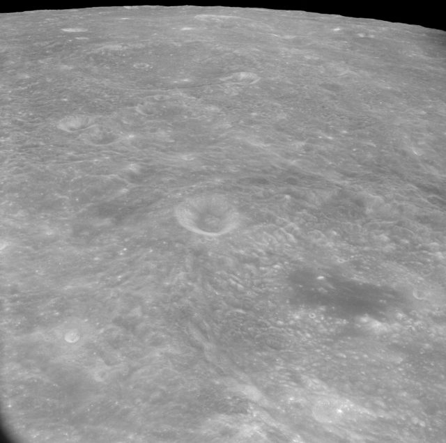 Oblique view of lunar surface taken from Apollo 8 spacecraft