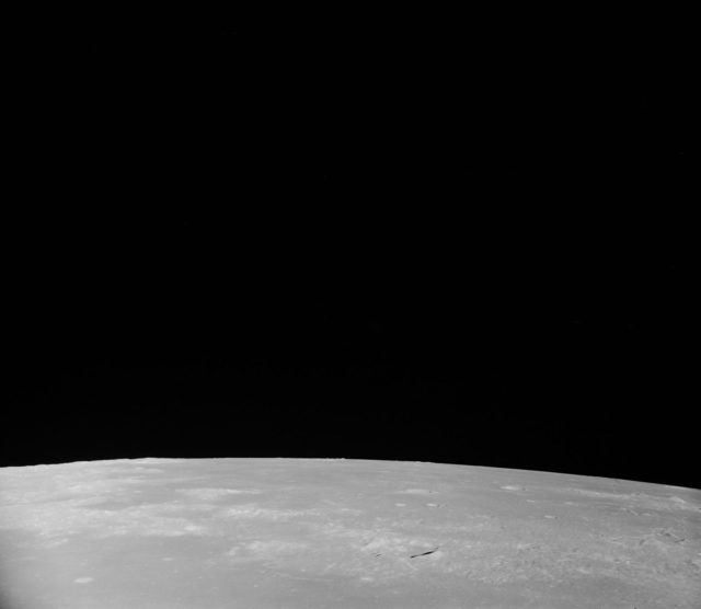 Oblique view of the lunar surface taken from Apollo 8 spacecraft