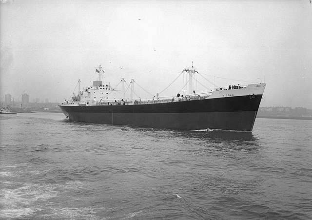 Bow quarter view of 'Nicola' on sea trials