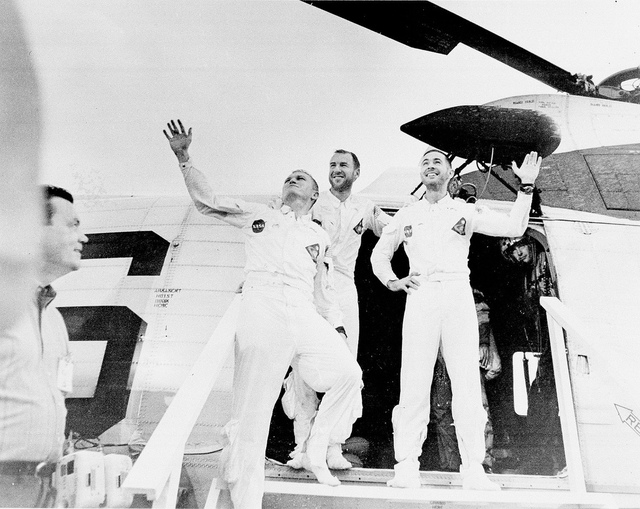 Waving Apollo 8 Astronauts Leaving Recovery Helicopter