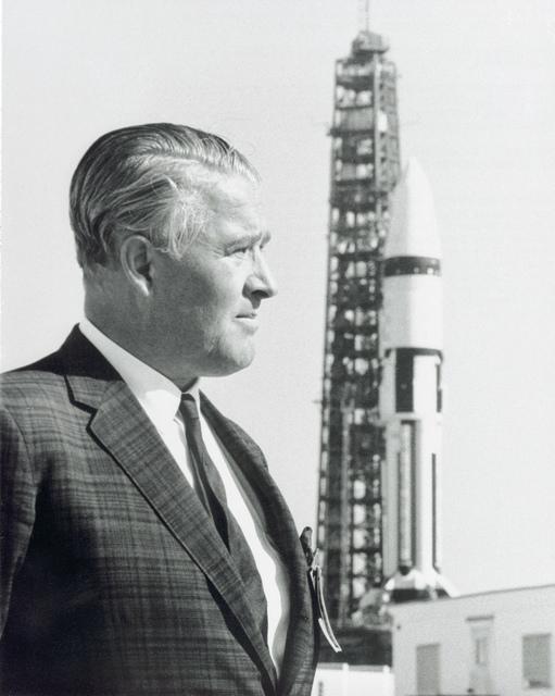 Wernher von Braun and Saturn IB on Launch Pad