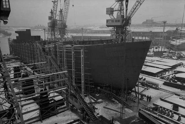 Wintry scene at the Southwick shipyard