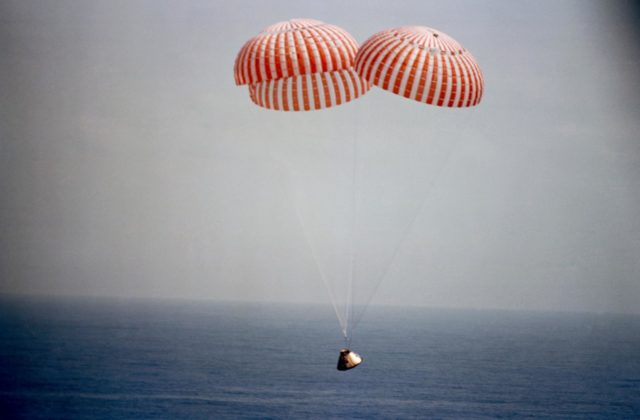 Photo - Apollo/Saturn (A/S)-11 - 500 Ft. Above Water - Chutes deployed