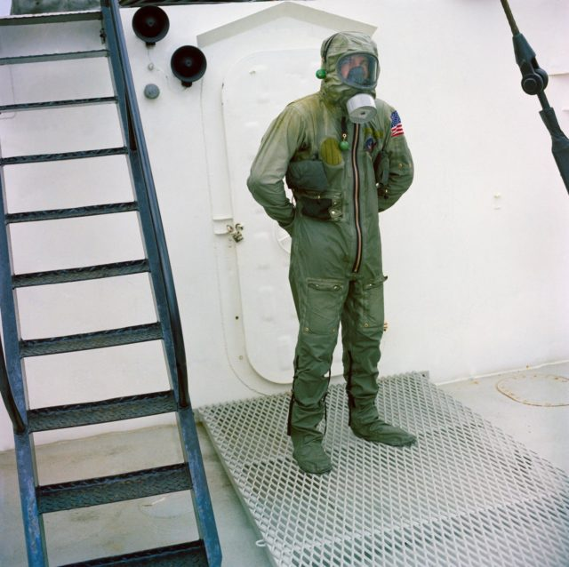 Subject wearing Biological Isolation Garment during qualification test