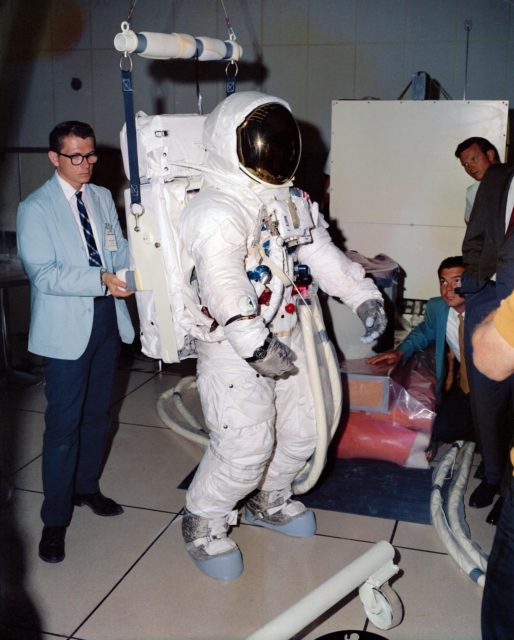 Astronaut Edwin Aldrin in EMU verifies fit of Portable Life Support System