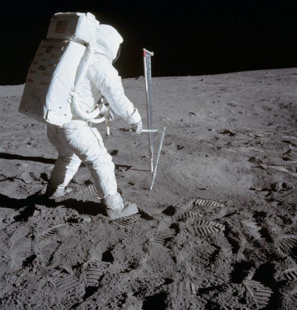 Astronaut Edwin Aldrin deploying Solar Wind Composition experiment