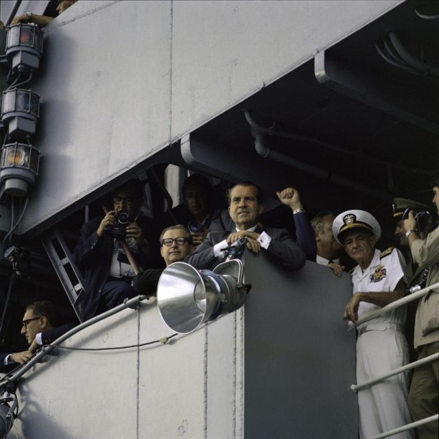 President Nixon on deck of U.S.S. Hornet awaiting Apollo 11 crew arrival