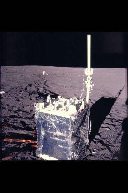 Apollo Crew landing site showing  deployment of ALSEP (Apollo Lunar Surface expeiments package) ARC-1969-AS12-47-6927
