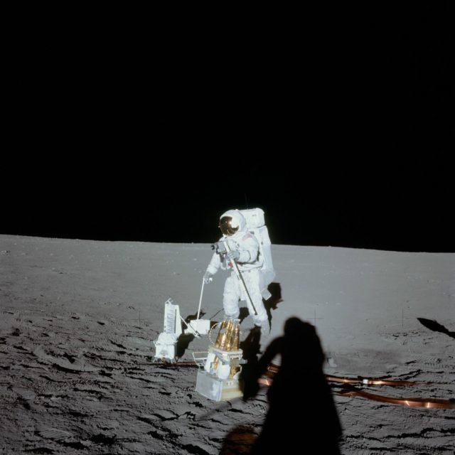 Astronaut Alan Bean deploys ALSEP during first Apollo 12 EVA on moon