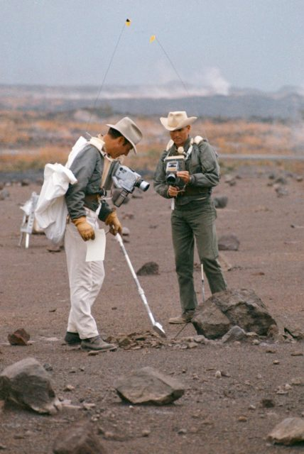 Astronauts Lovell and Haise during simulation of lunar traverse at Hawaii