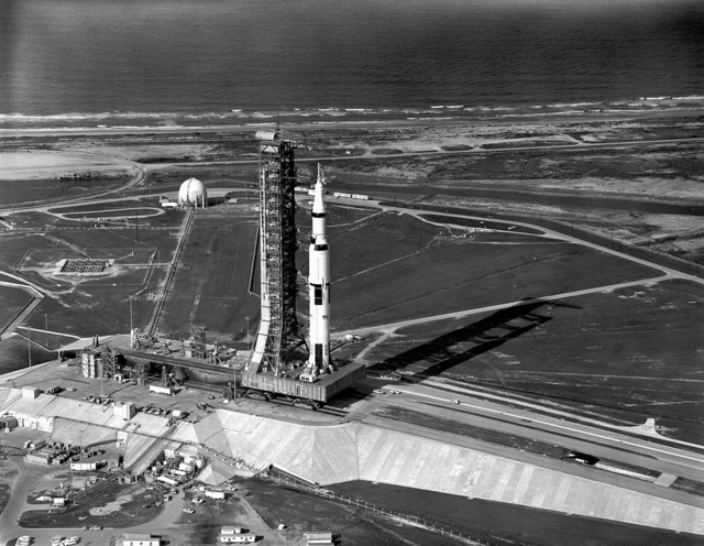 Aerial View of Apollo 11 Saturn V on Transporter