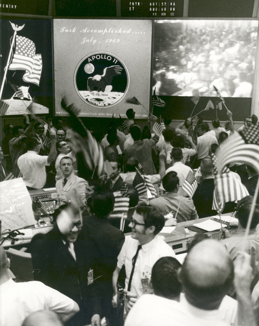 Mission Control Celebrates After Conclusion of Apollo 11