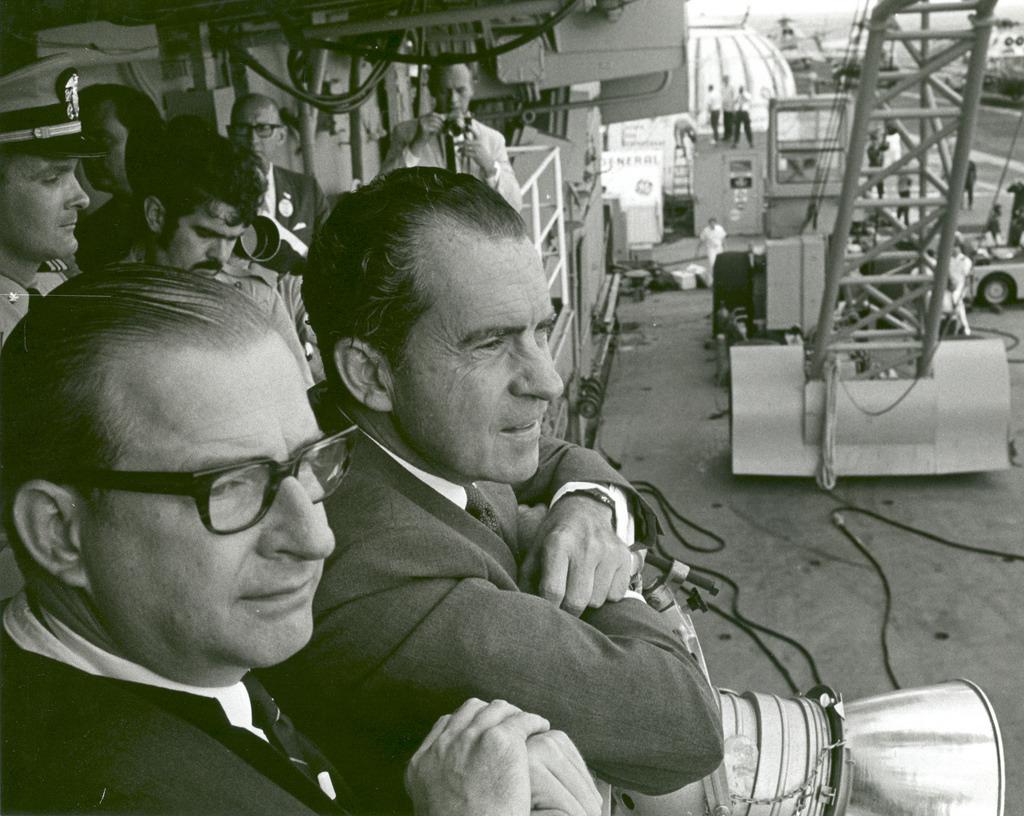 President Nixon and Dr. Paine Wait to Meet Apollo 11 Astronauts