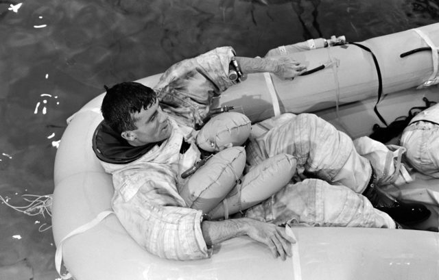 Apollo 13 Astronaut Fred Haise during water egress training