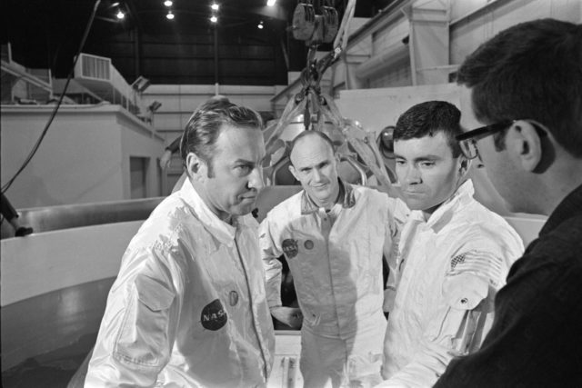 Apollo 13 prime crewmembers during water egress training