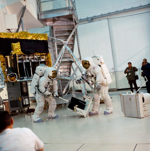 Apollo 13 crewmen simulate lunar surface EVA during training exercise