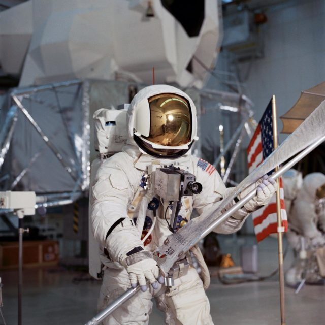 Astronaut Fred Haise simulates lunar surface EVA during training exercise